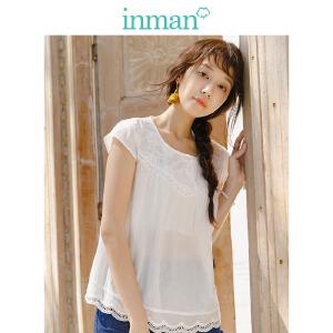 茵曼夏装新款纯色宽松A型小盖袖百搭衬衣衬衫女【1882013120】