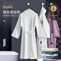 F7 五星级酒店浴袍纯棉皇冠刺绣华夫格加厚吸水毛巾料成人浴衣