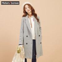美特斯邦威毛呢大衣女士冬装新款休闲韩版双排扣大衣商场款