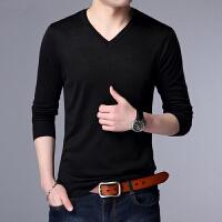 青年韩版纯色V领薄款男士毛衣春季大码宽松打底衫加肥加大针织衫