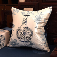 中式古典青花瓷抱枕沙发靠垫绸缎刺绣花大靠背靠枕套含芯定制