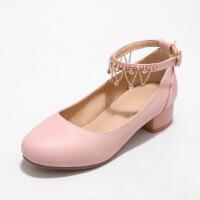 韩版小主持女孩公主鞋儿童高跟鞋2018新款女童皮鞋白色表演礼服鞋SN6660