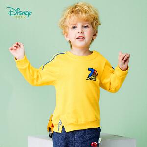 迪士尼Disney童装 男童外套秋冬新款抓绒保暖上衣肩开扣宝宝休闲长袖运动卫衣183S1057