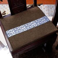 古典椅子坐垫 复古布艺红木实木餐椅垫子 书房办公室座椅沙发加厚坐垫 清雅岁月 雅咖