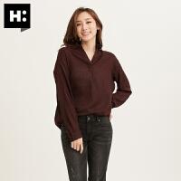H:CONNECT秋新款女式韩版时尚潮流翻领格子长袖衬衫