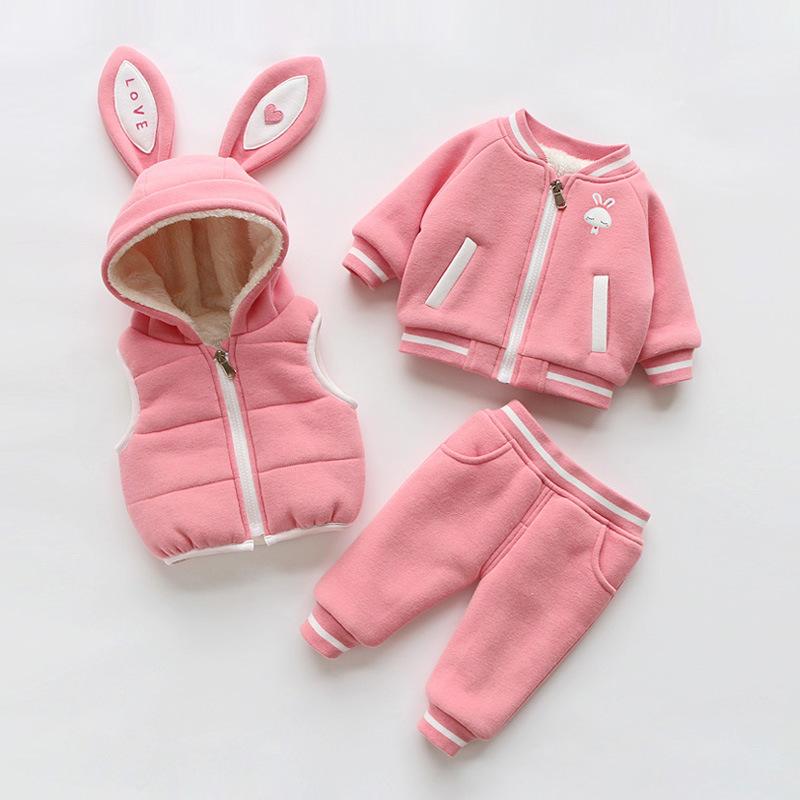 2周岁女宝宝冬装加绒加厚三件套 1小女孩冬季衣服洋气3-4棉衣套装巴 粉色 发货周期:一般在付款后2-90天左右发货,具体发货时间请以与客服协商的时间为准