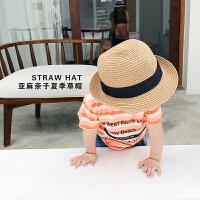 儿童草帽 男童草帽春夏宝宝沙滩太阳帽遮阳帽帅气潮童男孩帽子