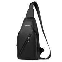新款韩版风范PU男士胸包时尚单肩包背包骑行包休闲胸包男包 黑色