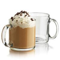 Libbey利比进口玻璃咖啡杯透明马克杯热饮杯牛奶杯茶杯创意带盖勺