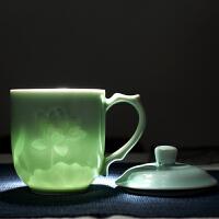 陶瓷茶杯带盖家用泡茶杯景德镇瓷器杯子青瓷带盖水杯办公室茶具