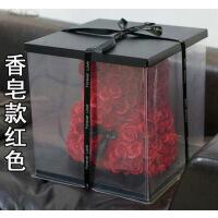 520情人节永生玫瑰花小熊创意生日礼物送女友闺蜜巨型香皂熊公仔 40cm香皂款 带盒子灯串
