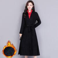 风衣女中长款2018新款秋冬季韩版气质修身显瘦加绒加厚黑风衣外套 黑色加绒