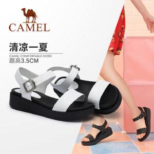 骆驼女鞋 2018夏季新品鞋 时尚韩版学生百搭简约平跟露趾搭扣凉鞋