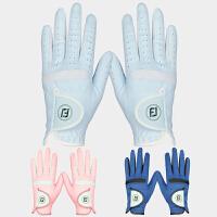 高尔夫手套女 女款双手进口超纤布防晒透气舒适耐磨高尔夫球手套 粉色 17码