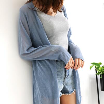 针织开衫女中长款夏薄款冰丝外套防晒衣女修身外搭夏季空调衫披肩