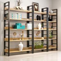 简易钢木书架客厅储物收纳简约现代搁板置物架层架落地墙壁架铁艺