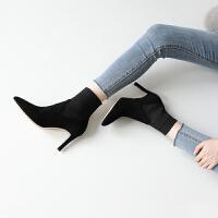 秋款女靴子短靴2018新款尖头细跟裸靴针织毛线袜靴冬高跟鞋马丁靴 TBP 黑色 单靴
