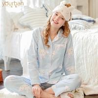 新款月子服孕妇睡衣春秋大码家居服套装 夏季产后哺乳棉纱布长袖