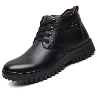 男士棉鞋冬季高帮加绒保暖男鞋真皮加厚中老年爸爸棉靴纯羊毛皮鞋