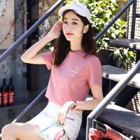 上衣女夏短袖t恤女2018夏装韩版新款棉学生体恤宽松半截袖衣服
