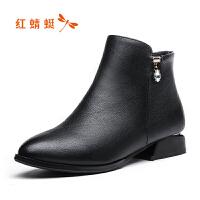 【红蜻蜓限时抢购,1件2折】红蜻蜓妈妈鞋冬季女棉鞋真皮短靴皮靴中跟粗跟加绒保暖靴