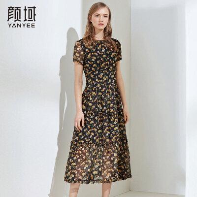 颜域女装裙子夏女2018新款短袖收腰修身雪纺碎花连衣裙弹性中长款