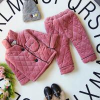 17冬季加绒加厚款男女童家居服儿童保暖套装夹棉B7-T57