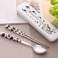 可爱卡通儿童不锈钢旅行餐具套装 筷子勺子叉子创意便携式三件套