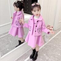 女童秋装2018新款时髦呢子套装秋冬季儿童公主毛呢外套洋气裙子潮