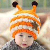 秋冬季儿童毛绒帽男女宝宝帽子婴儿毛线帽保暖帽韩版加绒0-1-3岁 6个月-4岁