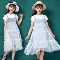 女童夏装新款连衣裙韩版童装中大童儿童吊带裙洋气