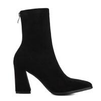 2018新款短靴秋冬粗跟弹力靴女靴高跟尖头中筒靴英伦风马丁靴子女