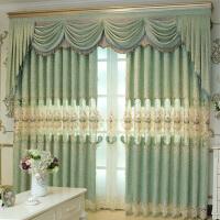 欧式窗帘半遮光客厅布帘带纱双层主卧避光窗幔罗马杆