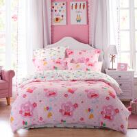 小猪佩奇床上用品全棉磨毛四件套套件彩虹球之梦
