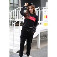 套装女时尚新款加绒加厚宽松胖MM运动服套装秋冬两件套 黑色
