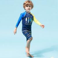 2018年新款儿童泳衣 分体长袖男童泳衣 小鱼图案儿童泳衣 藏蓝色