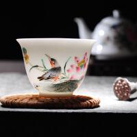 陶瓷功夫茶杯手绘粉彩花鸟小茶杯手工品茗杯中式个人杯单杯
