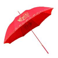 物有物语 结婚红雨伞 新婚结婚新娘伞直杆长柄红色伴娘伞23寸大红长伞婚庆用品道具 红色 23寸