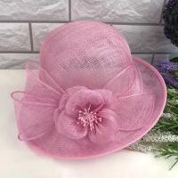 英伦复古帽子女夏天优雅花朵亚麻纱帽遮阳帽复古宽檐卷边礼帽 可调节
