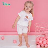 迪士尼Disney童装 女童肩开连体衣夏季新款索菲亚公主印花爬服纯棉薄款宝宝衣192L778