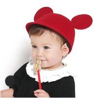 春秋新生儿帽子 婴儿帽子 女童男童宝宝帽子 圆顶毛礼帽