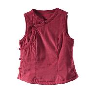 衣秋冬款复古盘扣短款条绒保暖马甲背心夹棉加厚棉衣女 均码