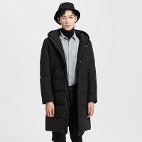 【2件2.5折到手价:313.75】MECITY男装中长款黑色连帽保暖羽绒服韩版
