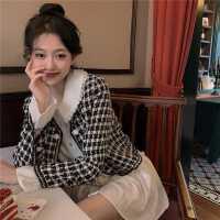 套�b2020年新款女秋季�凸虐咨��B衣裙子+格子�L袖外套�r尚�杉�套