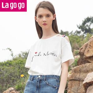 【秒杀价45.9】2019年夏新款字母印花百搭圆领漏肩短袖T恤