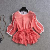2018新款女装夏季韩版格子短袖雪纺上衣收腰娃娃衫裙摆小衫荷叶摆