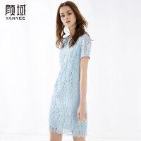 颜域品牌女装2018夏季装新款时尚简约v字领口性感蕾丝镂空连衣裙