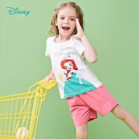 迪士尼Disney童装 女童公主印花套装夏季新品纯棉t恤上衣舒适短裤2件套192T901