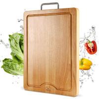 【支持礼品卡】高档橡胶木长方形菜板防滑实木质厨房原木砧板小号7bs