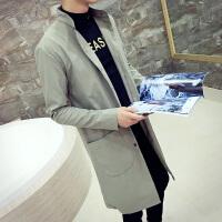 男士中长款修身风衣青年休闲长袖立领外套涂层布韩版潮流大衣